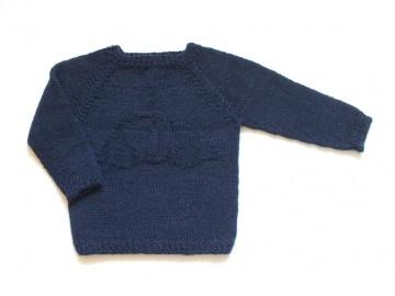 Handgestrickter Pullover in dunkelblau aus weicher Wolle (Alpaca) mit Automotiv - genial für Jungen - Größe 62 - 68 (3 - 6 Monate) - Handarbeit kaufen