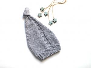 Niedliche Zipfelmütze für ganz kleine Wichtel - handgestrickt aus weicher Wolle (Merino) für kalte Wintertage - KU 30-35 cm - Handarbeit kaufen