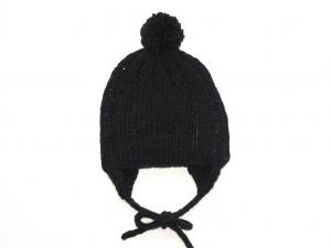Dunkelgraue Bommelmütze mit Ohrenklappen aus weicher Wolle (Merino) - wunderbar für kühle Tage  - KU 40-43 cm - Handarbeit kaufen