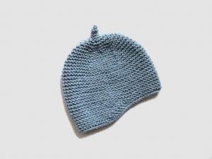 Handgestrickte Mütze für Babys aus kuschelweicher Wolle (Merino) in blaugrau melange - ein tolles Geschenk - KU 43-45cm