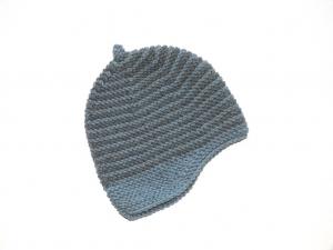 Handgestrickte geringelte Mütze für Babys aus kuschelweicher Wolle (Merino) - ein tolles Geschenk - KU 43-45 cm - Handarbeit kaufen