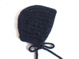 Handgestrickte Haube für Babys aus weicher Wolle (Alpaca) in dunkelblau - ein tolles Geschenk - KU 33-35 cm - Handarbeit kaufen