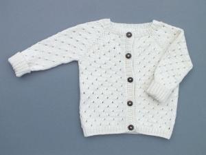 Naturfarbene Babyjacke - handgestrickt aus weicher Wolle (Cotton-Merino) - ein tolles Accessoire für kühle Tage - Größe 74-80