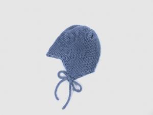 Teufelsmützchen mit Bindebänder - für kleine Teufelchen - handgestrickt aus weicher Wolle (Merino) in jeansblau - KU 43-45 cm - Handarbeit kaufen