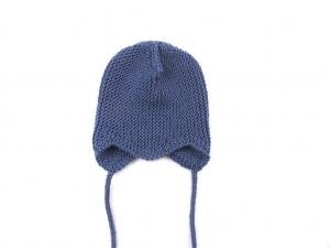 Teufelsmützchen mit Bindebänder - für kleine Prinzen - handgestrickt aus weicher Wolle (Merino) in jeansblau - KU 40-43cm  - Handarbeit kaufen