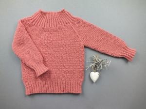 Niedlicher Mädchenpullover in einer tollen Farbe - handgestrickt aus weicher Wolle (Merino) - Größe 74 - 80  (9 - 12 Monate) - Handarbeit kaufen