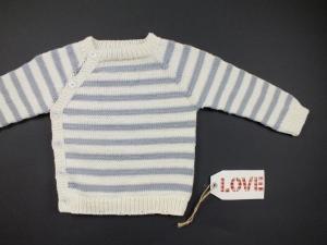 Geringelter Pullover aus weicher Wolle (Merino) handgestrickt - ein schönes Geschenk - Größe 62-68 (3 - 6 Monate)