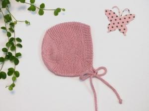 Handgestrickte Mütze aus weicher Baumwolle in puderrosa (KU 38 - 40 cm)  - ein schönes Geschenk   - Handarbeit kaufen