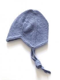 Teufelsmützchen mit Bindebänder für kleine Teufelchen - handgestrickt aus Baumwolle in hellblau - KU 43 - 45 cm (6 - 7 Monate)      - Handarbeit kaufen