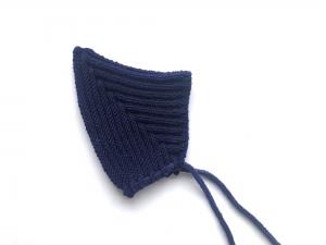 Warme Pixiemütze in dunkelblau aus weicher Wolle (Merino) - super für kühle Tage - KU 40-45 cm (3 - 6 Monate)  - Handarbeit kaufen