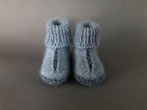 Handgestrickte warme Babybooties aus weicher Wolle in blau - ein tolles Geschenk - Fußlänge ca. 10 cm (0 - 3 Monate)