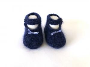Handgestrickte Baby-Ballerina in dunkelblau - ein tolles Geschenk zu Weihnachten - Fuß 10 - 11 cm (0 - 3 Monate)  - Handarbeit kaufen