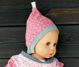 Rosa Babyzipfelmütze mit Punkten Gr. 35-38