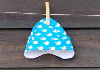 Türkisfarbene Jersey-Mütze mit Walfischen Gr. 34-37