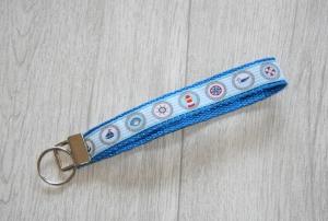 Schlüsselanhänger, Schlüsselband Maritim aus Gurtband mit Leuchtturm, Segelboot, Anker, Länge 15 cm - Handarbeit kaufen