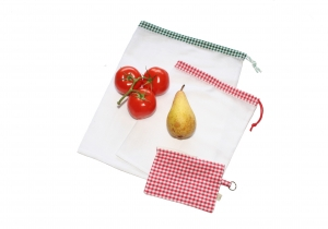 Obstnetz Gemüsenetz 2er Set Gr. M mit Täschchen, veggie bags, zero waste - Handarbeit kaufen