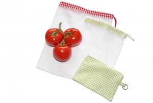 Obstnetz Gemüsenetz 2er Set Gr. S mit Täschchen, veggie bags, zero waste  - Handarbeit kaufen