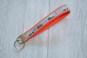 Schlüsselanhänger, Schlüsselband Baustelle mit Gurtband aus Baumwolle in Orange, Länge 15 cm