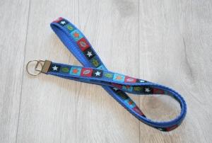 Schlüsselband Cool mit Gurtband aus Baumwolle in Blau, lang - Handarbeit kaufen