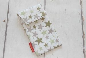 Handytasche grüne Sterne mit Klettverschluss Gr.L  - Handarbeit kaufen