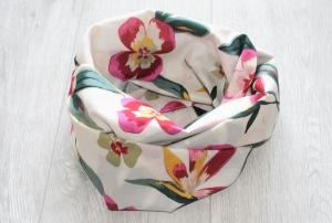 Sommer Loopschal mit Blumendruck, Baumwolle - Handarbeit kaufen