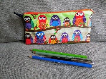 Stiftetasche, Utensilio,Schlampermäppchen,beschichtete Baumwolle,Eulenparade,Reißverschluss,