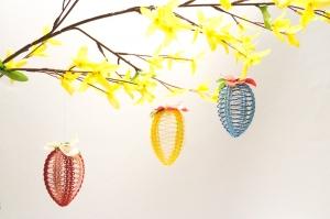Osterdekoration Selbgestaltete Ostereier in fröhlichen Farben, 3er Set