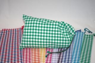 Brötchenbeutel  klein  grün mit Herzen aus Baumwolle für Einkauf und Aufbewahrung