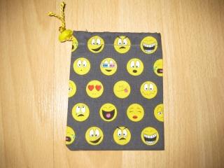 Stoffbeutel/Stoffsäckchen Smiley aus Baumwolle für z.B. Spielsteine oder andere Schätze