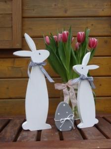 Bunny und Schnuffel mit Osterei, 3 teiliges  Set in Weiß