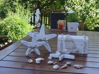 weiße Seesterne aus Holz im zweier Set