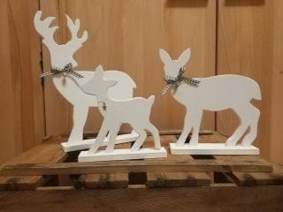 Schlichte Hirsch Familie in weiß,  3-Teilig