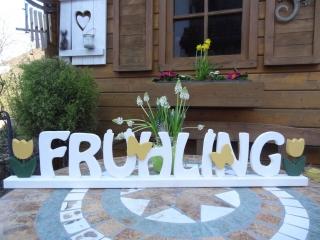 Schlichter weißer Schriftzug Frühling