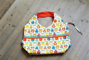 große Einkaufstasche, Stofftasche, retro Style,  Äpfel und Birnen