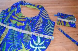 Einkaufstasche, großer Stoffbeutel, blau, florales Design,