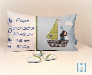 individuelle Namenskissen für Jungen, Kissen mit Geburtsdaten 30x50 cm inkl Innenkissen