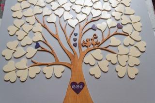 Hochzeitsbaum Weddingtree Fingerprint 3D Holz mit Vögeln