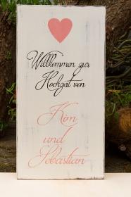 Willkommensschild Holzschild zur Hochzeit 30cm x 60cm individuell beschriftet