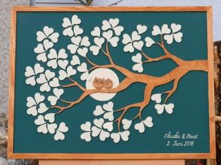 Hochzeitsbaum Weddingtree Gästebuch aus Holz mit Motiv EULEN