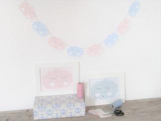 Girlande Wimpelkette Wolke blau rosa Kinderzimmer Geschenk Geburt