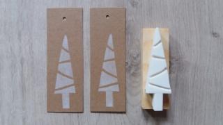 Stempel handgeschnitzt Weihnachtsbaum Tanne Baum handmade Natur stilisiert