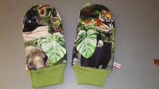 Fäustlinge Jersey Größe L- weich gefüttert - Dschungel - Handarbeit kaufen