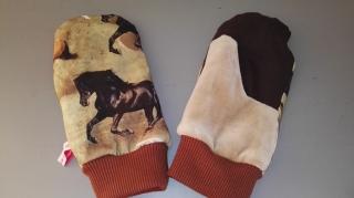 Fäustlinge Jersey Größe L- weich gefüttert - Pferde - Handarbeit kaufen
