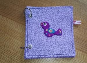 Mini-Ringbuch - zum Einheften und Sammeln / lila mit Vögelchen - Handarbeit kaufen