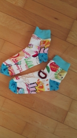 socks for fun - genähte Socken mit individueller Note- Türkistöne 1 - Handarbeit kaufen