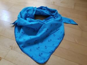 Tolles Musselintuch - Dreieck, türkis mit blauen Ankern - Handarbeit kaufen