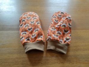 Fäustlinge Jersey Größe XL- weich gefüttert - Blumen auf orange - Handarbeit kaufen