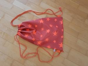 Rucksack - Sportbeutel aus Softshell orange mit Sternen - Handarbeit kaufen