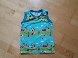 Kinder T-shirt ärmellos Autos Größe 92/98 - Handarbeit kaufen