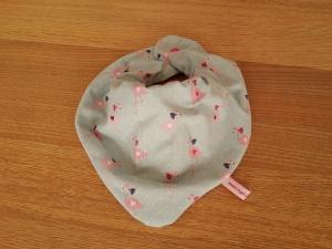Halstuch mit Wasserfalloptik - Flamingos mint - Handarbeit kaufen